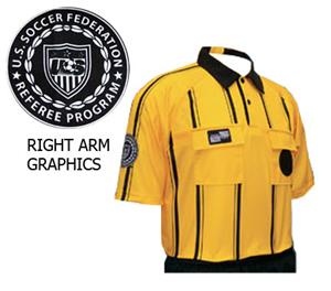 USSF Pro Soccer Referee Jerseys Gold -Striped
