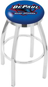 DePaul University Flat Ring Chrome Bar Stool