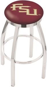 Florida State Script Flat Ring Chrome Bar Stool