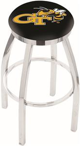 Georgia Tech Flat Ring Chrome Bar Stool