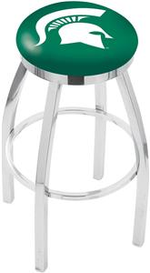 Michigan State Univ Flat Ring Chrome Bar Stool
