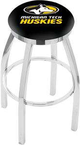 Michigan Tech Univ Flat Ring Chrome Bar Stool