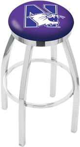 Northwestern University Flat Ring Chrome Bar Stool