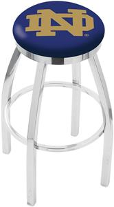 Notre Dame ND Flat Ring Chrome Bar Stool