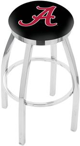 Univ Alabama Script A Flat Ring Chrome Bar Stool