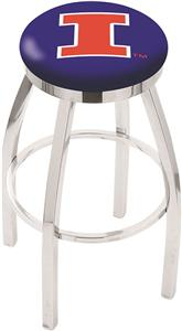 University of Illinois Flat Ring Chrome Bar Stool