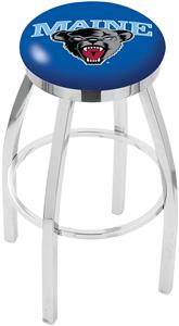 University of Maine Flat Ring Chrome Bar Stool
