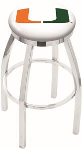 University of Miami FL Flat Ring Chrome Bar Stool