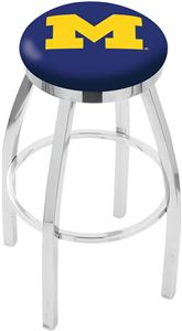 University of Michigan Flat Ring Chrome Bar Stool