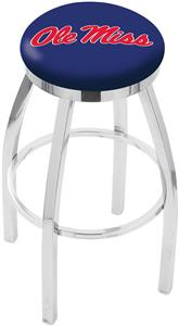 Univ of Mississippi Flat Ring Chrome Bar Stool