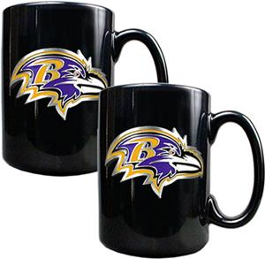 NFL Baltimore Ravens Black Ceramic Mug (Set of 2)
