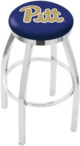 Univ of Pittsburgh Flat Ring Chrome Bar Stool