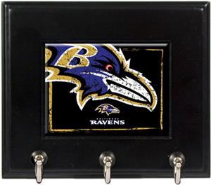 NFL Baltimore Ravens Wood Keyhook Rack
