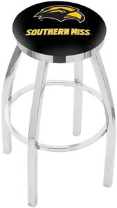 Southern Mississippi Flat Ring Chrome Bar Stool