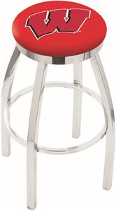 "Univ of Wisconsin ""W"" Flat Ring Chrome Bar Stool"