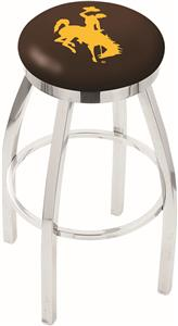 University of Wyoming Flat Ring Chrome Bar Stool
