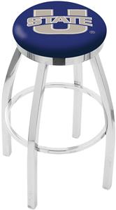 Utah State University Flat Ring Chrome Bar Stool
