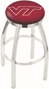 Virginia Tech Univ Flat Ring Chrome Bar Stool
