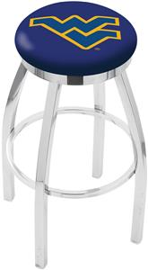 West Virginia Univ Flat Ring Chrome Bar Stool