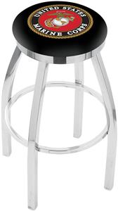 US Marine Corps Flat Ring Chrome Bar Stool