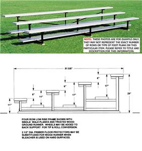 Outdoor Bleachers 4 ROW Low Rise No Aisles