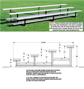 Outdoor Bleachers 4 ROW No-Elev Low Riser No Aisle