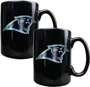NFL Carolina Panthers Black Ceramic Mug (Set of 2)