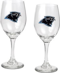 NFL Carolina Panthers 2 Piece Wine Glass Set