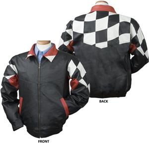 Burk&#39;s Bay Checkered Flag Racing Leather Jacket