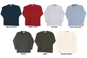 J America Vintage Jersey Henley Long Sleeve Shirts