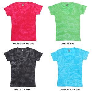J America Womens Vanity Tie Dye Deep V Veck Tee
