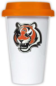 NFL Cincinnati Bengals Ceramic Cup with Orange Lid