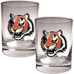 NFL Cincinnati Bengals 2 piece Rocks Glass Set