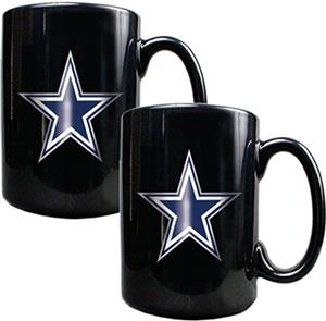 NFL Dallas Cowboys Black Ceramic Mug (Set of 2)