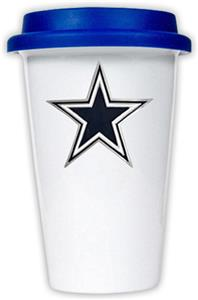 NFL Dallas Cowboys Ceramic Cup with Blue Lid