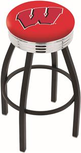"University of Wisconsin ""W"" Ribbed Ring Bar Stool"