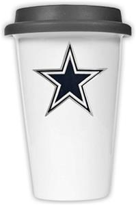 NFL Dallas Cowboys Ceramic Cup with Black Lid