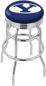 Brigham Young Univ Ribbed Double-Ring Bar Stool