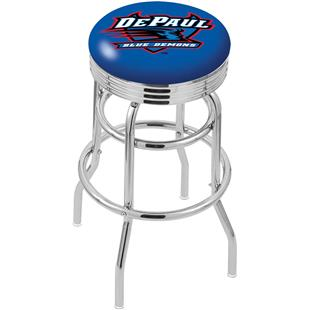 DePaul University Ribbed Double-Ring Bar Stool