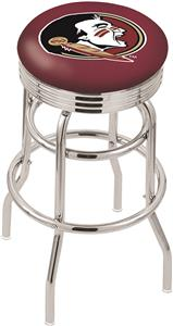 Florida State Head Ribbed Double-Ring Bar Stool