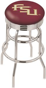 Florida State Script Ribbed Double-Ring Bar Stool