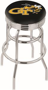 Georgia Tech Ribbed Double-Ring Bar Stool