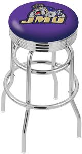 James Madison Univ Ribbed Double-Ring Bar Stool