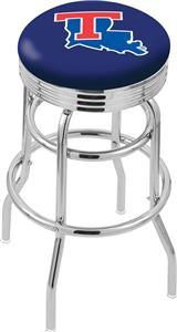 Louisiana Tech Univ Ribbed Double-Ring Bar Stool