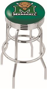Marshall University Ribbed Double-Ring Bar Stool