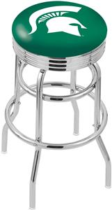 Michigan State Univ Ribbed Double-Ring Bar Stool