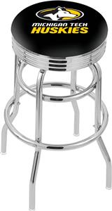 Michigan Tech Univ Ribbed Double-Ring Bar Stool