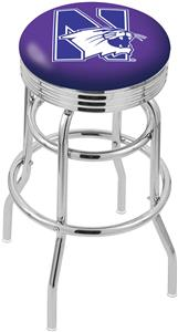 Northwestern Univ Ribbed Double-Ring Bar Stool