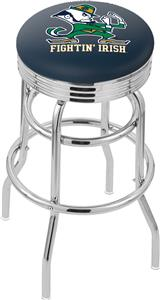Notre Dame Leprechaun Ribbed Double-Ring Bar Stool