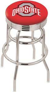 Ohio State University Ribbed Double-Ring Bar Stool